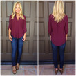 Aria 3/4 Sleeve Blouse - BURGUNDY