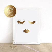 Gold Foil Makeup Print, Fashion Print, Real Gold Foil, Wall Art, Wall Decor, Makeup Poster, Wall Art Print, Minimalist Poster, Beauty Print.