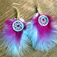 Dream Catcher Earrings Purple Blue Bohemian Jewelry