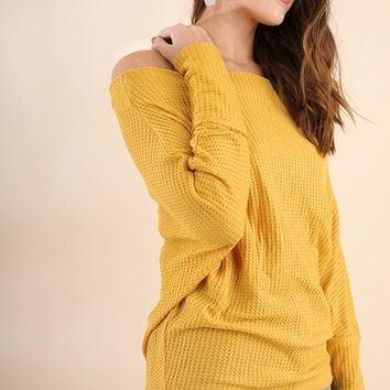 Cozy Chic Off Shoulder Batwing Sleeves Thermal Top (Mustard)