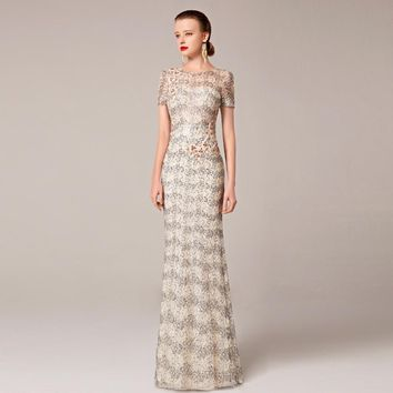 2016 Coniefox New Styles Embroidery Flower Sequins Net Beige Prom Evening Long Gown Special Occasion Dress 31212