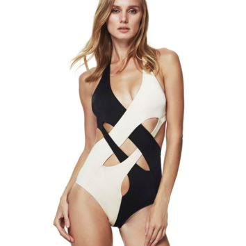 Black and white Cross bikini swimsuit B0016481
