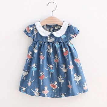 BibiCola Baby Girl Print Dress 2017 New Brand Casual Summer Clothes Toddler Girls Denim color Dresses Baby Kids Cotton Clothing