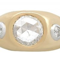 1.45 ct Diamond and 18 ct Yellow Gold Dress Ring - Vintage French Circa 1950