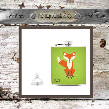 Fox - What Does a Fox Say? Hip Flask 21st Birthday Gift Bridal Party Groomsman Bridesmaid Gift Liquor Flask 6 or 8 oz. Free Funnel Custom