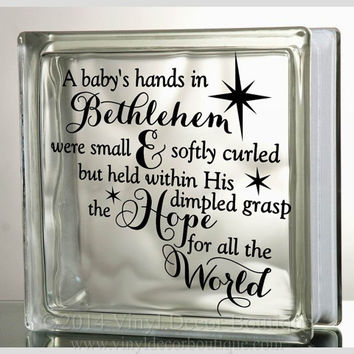 Hope for all the world Christ Glass Block Decal Tile Mirrors DIY Decal for Christmas Glass Blocks Hope for all the world