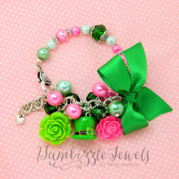 handmade polymer clay top hat clover st patricks day bracelet green and pink with bow