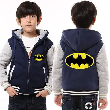Childrens Hoodie Winter Batman Thicken Fleece Hoodie DC Superheroes Zipper Coat Unisex US EU Size