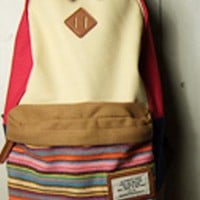 Folk Style Strip Print Canvas Backpack-Beige from styleonline