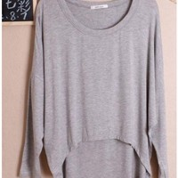 Women Autumn Euro Style Simple Loose Bat-wing Sleeve Light Grey Cotton Shirt One Size@WH0036lg $8.37 only in eFexcity.com.