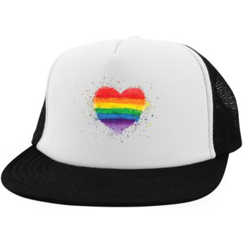 Gay Pride Trucker Hat Rainbow Heart Color Splash