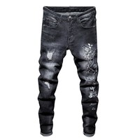 Embroidery Strong Character Stylish Slim Ripped Holes Stretch Jeans [3444983660637]