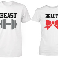 Beauty & Beast White Matching Couple Shirts (Set)