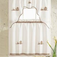"""Amanda Collection Embroidered Kitchen Curtain Set: One Valance (60"""" x 36"""") and Two Tiers (30"""" x 36"""" x 2PCS) - Coffee"""
