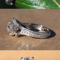 UNIQUE Flower Rose Diamond Engagement or Right Hand Ring - 2.25 carat - 14K white gold - wedding - brides - fL01