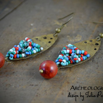 Beaded bohemian earrings, earthy, tribal, artisan, mixed seed beads, coral sponge beads, oxidized copper wire, solid brass