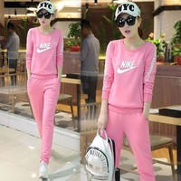 Nike Fashion Casual Top Sweater Pants Trousers Set Two Piece