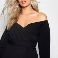 Plus Sasha Off The Shoulder Wrap Mini Dress | Boohoo