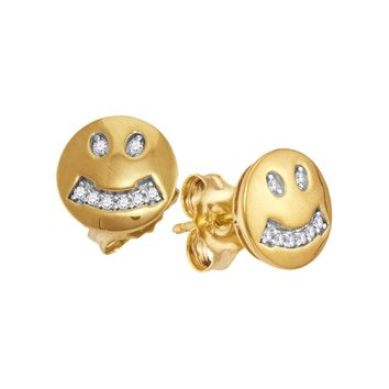 10kt Yellow Gold Womens Round Diamond Smiley Face Screwback Earrings 1/20 Cttw