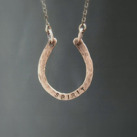 Horseshoe necklace, Personalized necklace, Spiritual jewelry, copper necklace, equestrian jewely