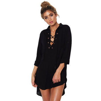 New Fashion Summer Women Chiffon Dress Lace Up V-Neck Loose Full Sleeves Ladies Casual Short Dress Black White