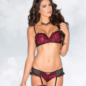 Contrast Lace And Satin Bra And Panty Set