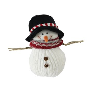 """9"""" Fuzzy Smiling Christmas Snowman Figurine with Black Hat and Striped Scarf"""