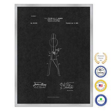 1900 Doctor Surgical Instrument Antique Patent Artwork Silver Framed Canvas Home Office Decor Great for Doctor Paramedic Surgeon Hospital Medical Student