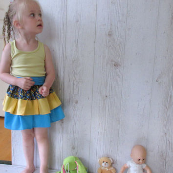 Toddler ruffle skirt, Baby Skirt, little girl Skirt, Girls Ruffled Skirt, Blue Yellow Skirt, Back To School Skirt