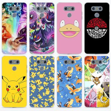 cartoon pokemons eevee pika for LG g5 g6 v30 Transparent frame hard back phone Case Cover for LG V10 V20 V30 G5 G6 Q6 K8 K10 201