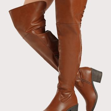 Drawstring Faux Leather Lace Up Thigh High Boots CHESTNUT
