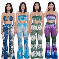 Fashion Summer 2 Pieces Jumpsuit Set Sexy Long Flare pants Strapless Crop Tops High Waist Wide Leg Pants Printed Rompers
