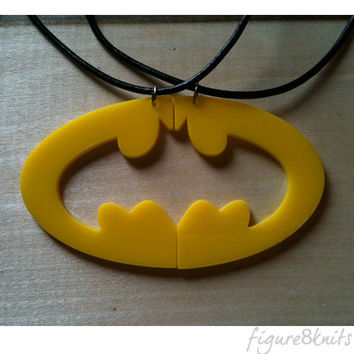 Batman, Two Halves to a Whole, Batman Logo Best Friend Pendant, Your Choice of Colors