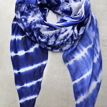 Lakeside Drive Blue and White Tie-Dye Scarf