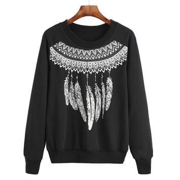 Womens Feather Print Sweatshirt Casual Long Sleeve Round Neck Sweatshirt Jumper Pullover Tops camisetas y tops INY66