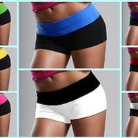 JUNIORS WOMENS CUTE & COMFY MULTICOLOR FOLDING WAISTBAND COTTON SPANDEX SHORTS