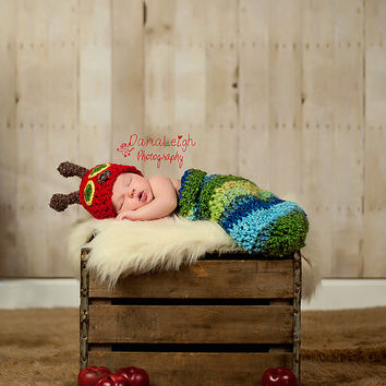 The Very Hungry Caterpillar - Newborn - Photo Prop - Hat and Cocoon - Baby Shower - Photography - Accessory - Toy - Costume