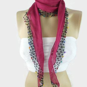 Fuchsia Scarf, Cotton cowl with crochet Oya Lace edges ,  Womens foulard , Hot Pink Cotton bandana, Summer Scarflette