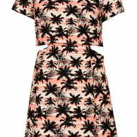 PALM TREE CROP SKATER DRESS