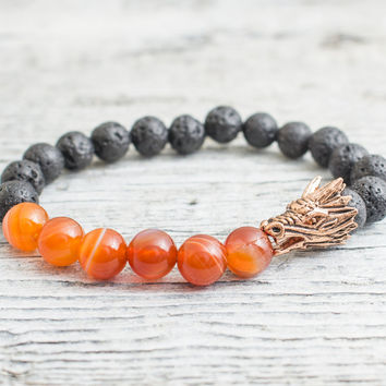 Black lava stone and orange agate beaded rose gold dragon head stretchy bracelet, made to order yoga bracelet