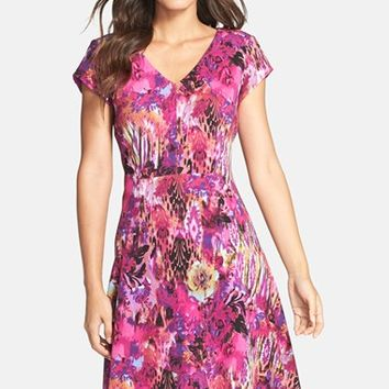 Women's Chetta B Print Knit Fit & Flare Dress,