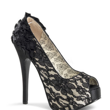 Bordello Teeze Black Satin Ruffle Lace Platforms