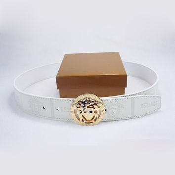 VERSACE Men Woman Fashion Smooth Buckle Belt Leather Belt