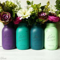 Peacock Colors - Wedding and Home Decor - Emerald Painted and Distressed Mason Jars - Vase