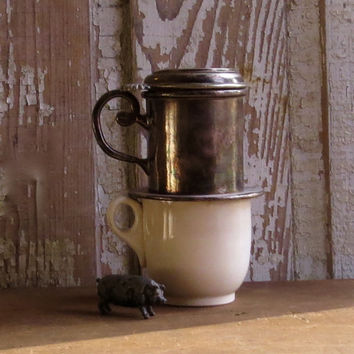 Vintage French Silver Coffee or Tea Server, Bistro Cafe Drip Pot, Silverplate Single Cup Serving, Country Cottage Decor