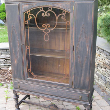 Chic and Shabby Black China Cabinet - Bookcase - Hutch