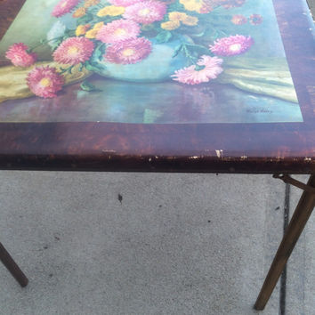 Vintage Folding Card Table Patina Painted Flowers Baryl Haley Painting Aged Wood Portable