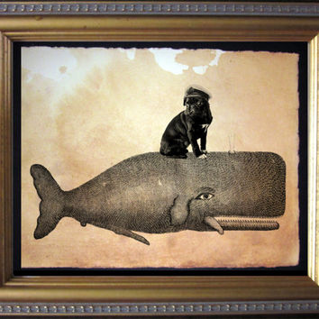 Black Pug with Captain's Hat Riding Whale - Vintage Collage Art Print on Tea Stained Paper - Vintage Art Print - Vintage Paper