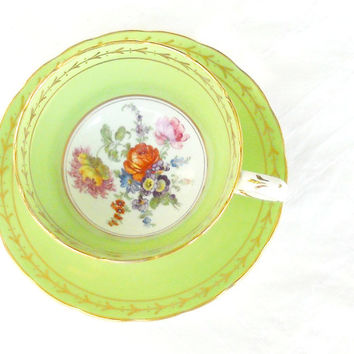 Vintage Ornate Footed Tea Cup and Saucer Set, Downton Abbey, Tea Party, English Bone China, Weddings, Baby Shower, CIJ