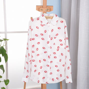 New fashion 2015 White Women Stand Collar Button Red lip Print chiffion Blouse lady fashion Long Sleeve Shirt classic blouse Top